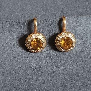 Vintage Topaz and Rhinestone Screw Back Earrings
